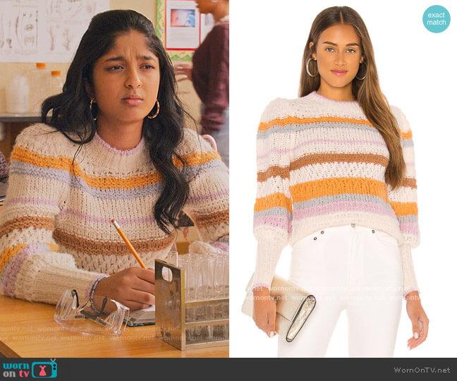 Fluffy Stripe Pullover by Rebecca Taylor worn by Devi Vishwakumar (Maitreyi Ramakrishnan) on Never Have I Ever