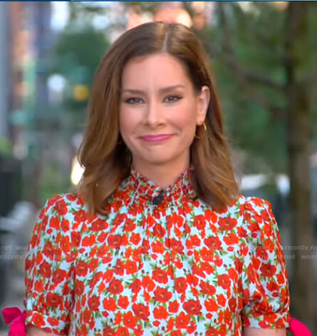 Rebecca's red and blue floral top on Good Morning America