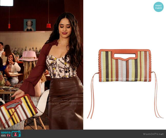 Rebecca Minkoff Multicolor Striped Woven Clutch Bag worn by Liz Ortecho (Jeanine Mason) on Roswell New Mexico