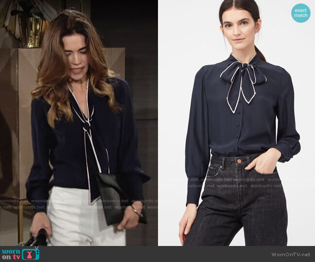Rebecca Taylor La Chemise Tie Neck Silk Charmeuse Tunic worn by Victoria Newman (Amelia Heinle) on The Young & the Restless