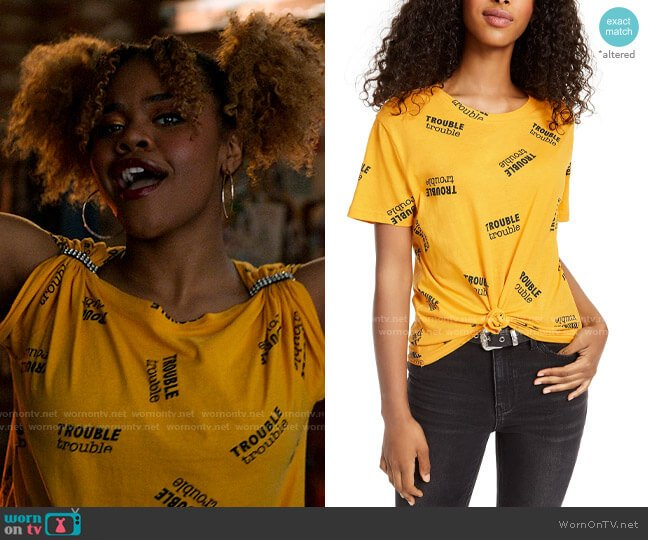 Rebellious One Trouble Knot-Front Graphic T-Shirt worn by Kourtney (Dara Renee) on High School Musical The Musical The Series