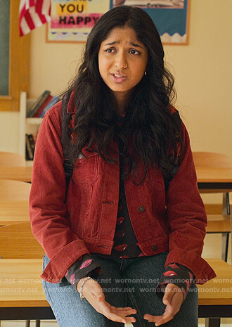 Devi's red corduroy jacket and lip print tee on Never Have I Ever