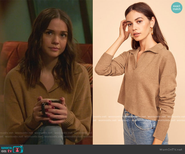 Cashmere Polo Sweater by Reformation worn by Callie Foster (Maia Mitchell) on Good Trouble