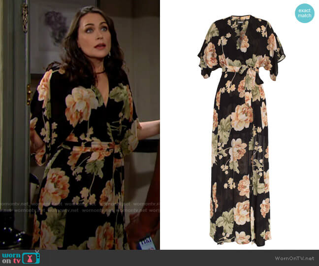 Reformation Winslow Dress in Chateaux worn by Quinn Fuller (Rena Sofer) on The Bold & the Beautiful