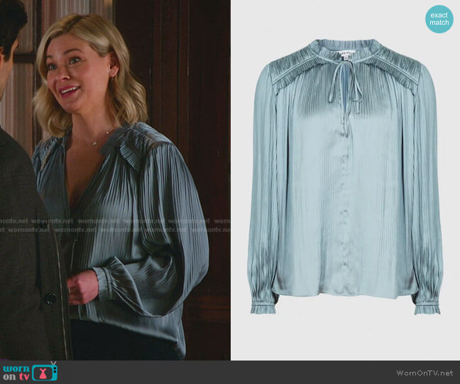 Everley Pleated Blouse by Reiss worn by Stephanie Borden (Kylee Evans) on Good Witch
