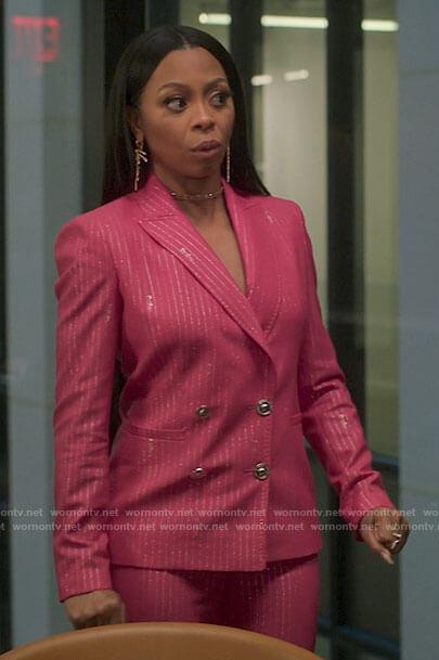 Renee's pink metallic pinstripe suit on Run the World