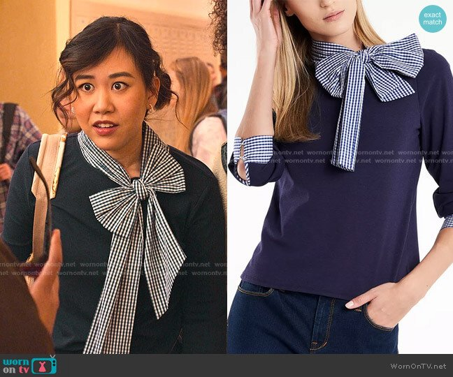Juliette Bow-Neck Gingham-Trim Top by Riley & Rae worn by Eleanor Wong (Ramona Young) on Never Have I Ever