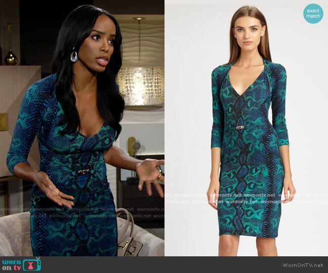 Roberto Cavalli Python Print Dress in Teal worn by Imani Benedict (Leigh-Ann Rose) on The Young & the Restless
