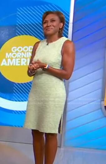 Robin's green sleeveless tweed dress on Good Morning America