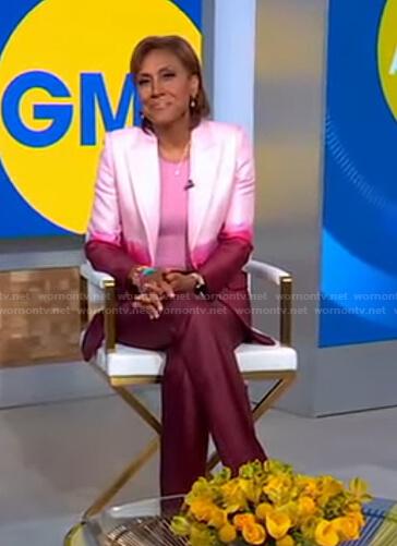Robin's pink dip-dye blazer and pants on Good Morning America