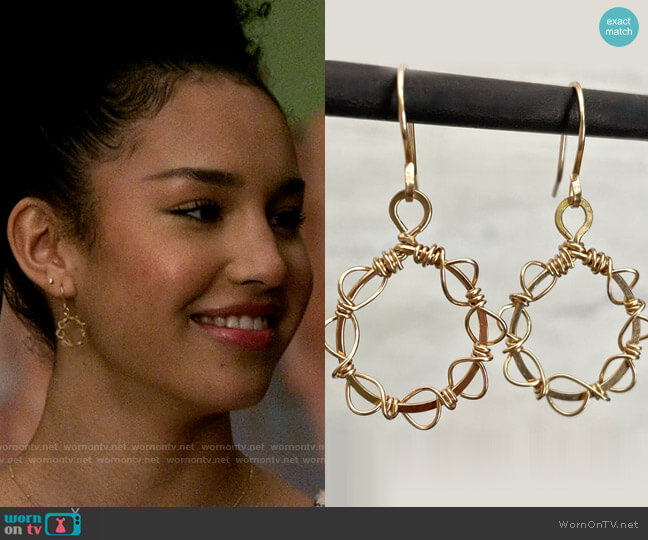 Rock and Sea Designs Gold Wreath Earrings worn by Gina (Sofia Wylie) on High School Musical The Musical The Series
