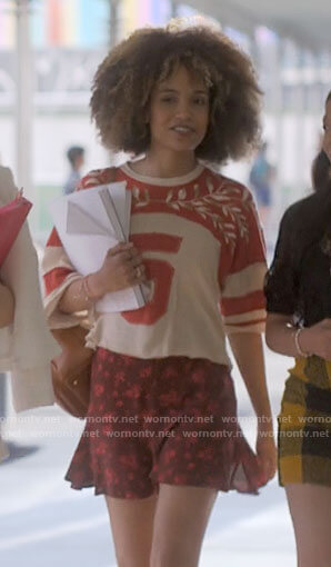 Rowena's red 5 embroidered top on American Horror Stories