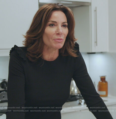 Luann's black ruffle shoulder top on The Real Housewives of New York City
