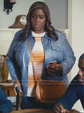 Ruby's orange striped sweater and blue leather Jacket on Good Girls