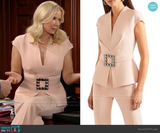 Safiyaa Sofi Belted Top worn by Brooke Logan (Katherine Kelly Lang) on The Bold & the Beautiful