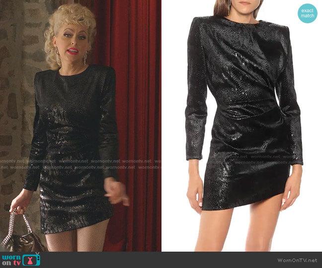 Snake-effect minidress by Saint Laurent worn by Alexis Carrington (Elaine Hendrix) on Dynasty