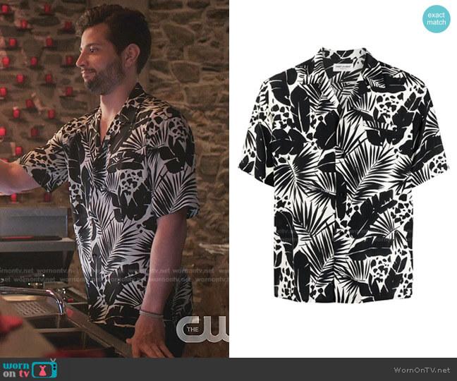 Leaf-Print Silk Shirt by Saint Laurent worn by Sam Flores (Rafael de la Fuente) on Dynasty