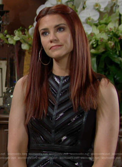 Sally's black leather striped dress on The Young and the Restless
