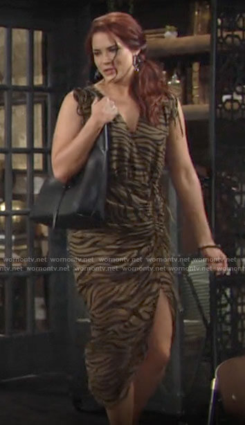 Sally's olive green zebra print dress on The Young and the Restless