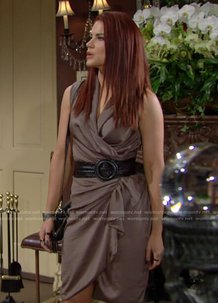 Sally's taupe sleeveless wrap dress on The Young and the Restless