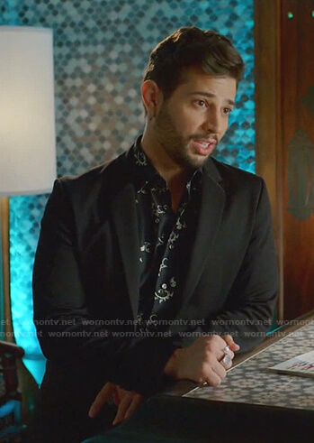 Sam's black moon embroidered sheer shirt on Dynasty