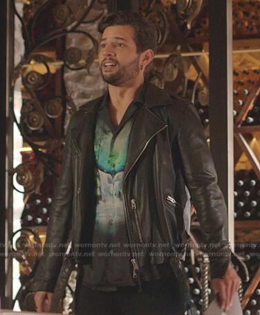 Kirby's black shearling collar coat on Dynasty