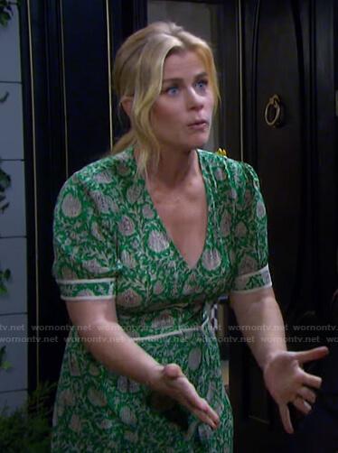 Sami's green floral print v-neck dress on Days of our Lives