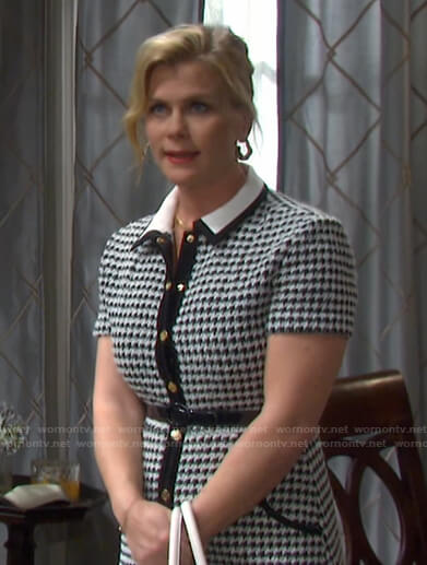 Sami's houndstooth button front dress on Days of our Lives