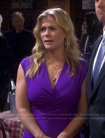 Sami's purple ruched v-neck dress on Days of our Lives