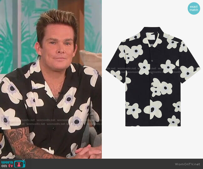 Bloom Floral-Print Woven Shirt by Sandro worn by Mark McGrath on The Talk