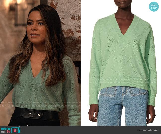 Sandro Joseph Pointelle Knit Sweater worn by Carly Shay (Miranda Cosgrove) on iCarly