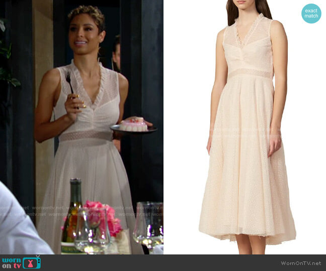 Sandro Cassy Dress worn by Elena Dawson (Brytni Sarpy) on The Young & the Restless