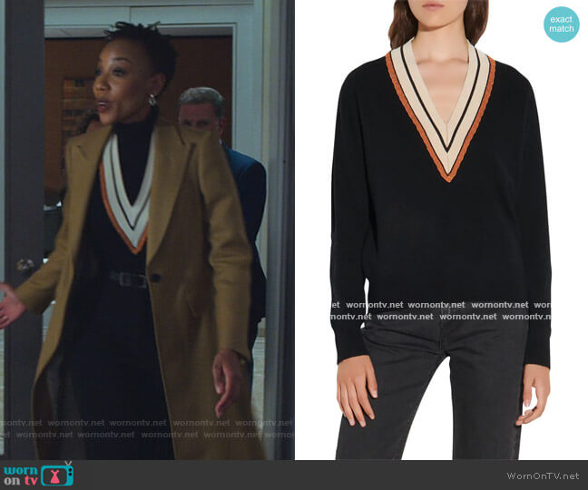 V-Neck Sweater by Sandro worn by Charmaine Bingwa on The Good Fight