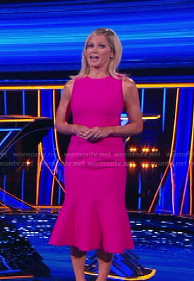Sara's pink sleeveless ruffle hem dress on The Chase