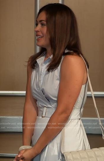 Britt's blue belted dress on General Hospital