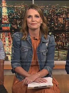 Savannah's distressed puff sleeve denim jacket on Today