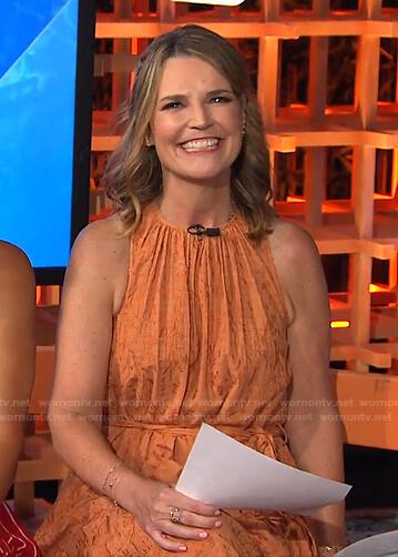 Savannah's orange embroidered sleeveless dress on Today
