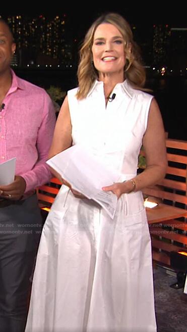 Savannah's white sleeveless shirtdress on Today