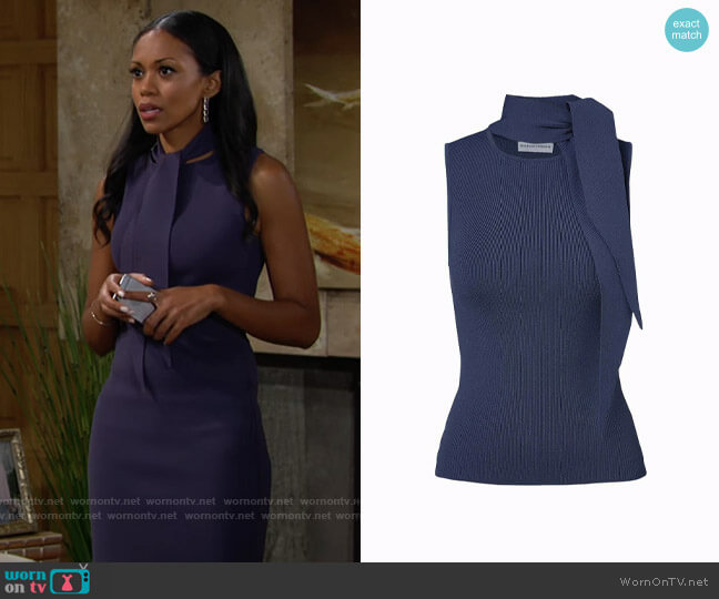 Scanlan Theodore Crepe Knit Sleeveless Cravat Tank Slate worn by Amanda Sinclair (Mishael Morgan) on The Young & the Restless