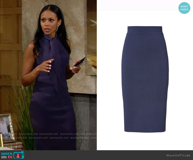 Scanlan Theodore Crepe Knit Slit Back Skirt Slate worn by Amanda Sinclair (Mishael Morgan) on The Young & the Restless
