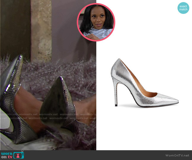 Schutz Caiolea Snake Embossed Pumps  worn by Amanda Sinclair (Mishael Morgan) on The Young & the Restless