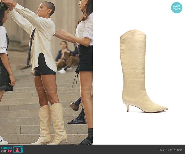 Maryana Lo Crocodile-Embossed Leather Boot by Schutz worn by Julien Calloway (Jordan Alexander) on Gossip Girl