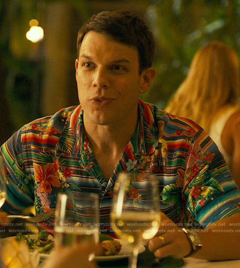 Shane's floral and stripe shirt on The White Lotus