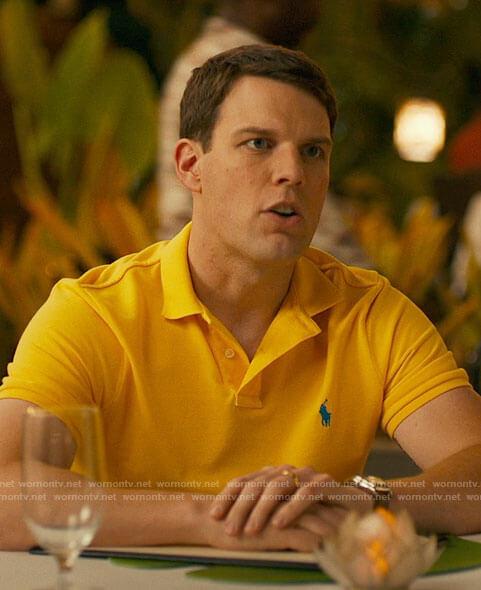 Shane's yellow polo shirt on The White Lotus