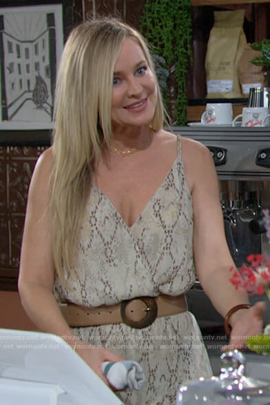 Sharon's beige printed maxi dress on The Young and the Restless