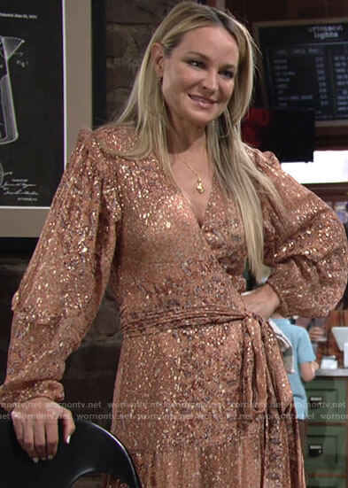 Sharon's peach metallic wrap maxi dress on The Young and the Restless