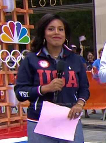 Sheinelle's navy and red USA track jacket on Today