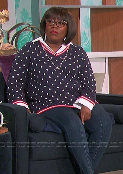 Sheryl navy polka dot sweater on The Talk