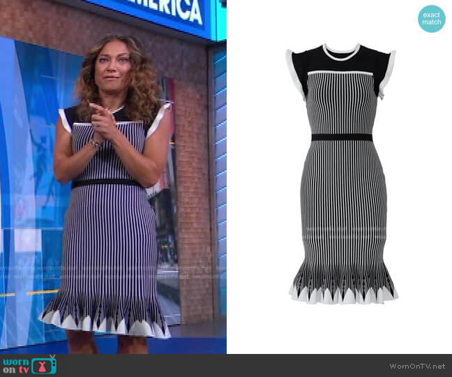 Striped Sinead Dress by Shoshanna worn by Ginger Zee  on Good Morning America