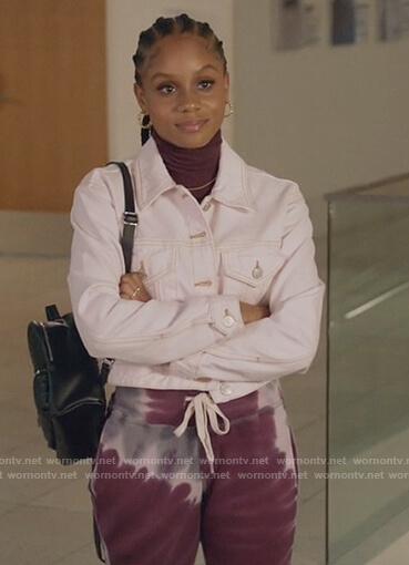 Simone's purple tie dye sweatpants on All American